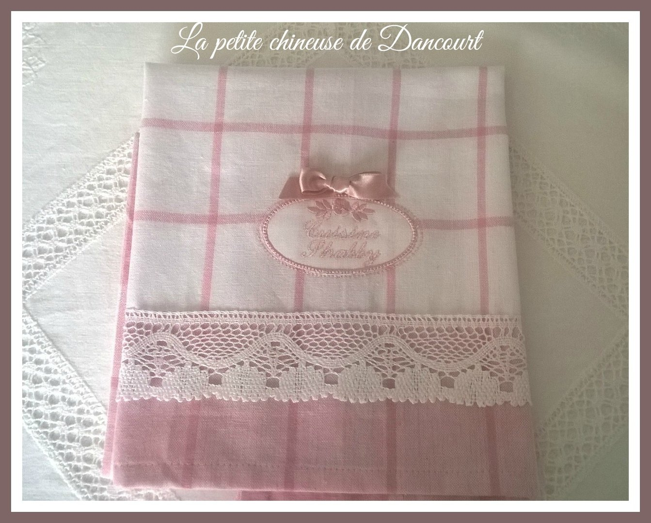 Torchon cuisine shabby rose