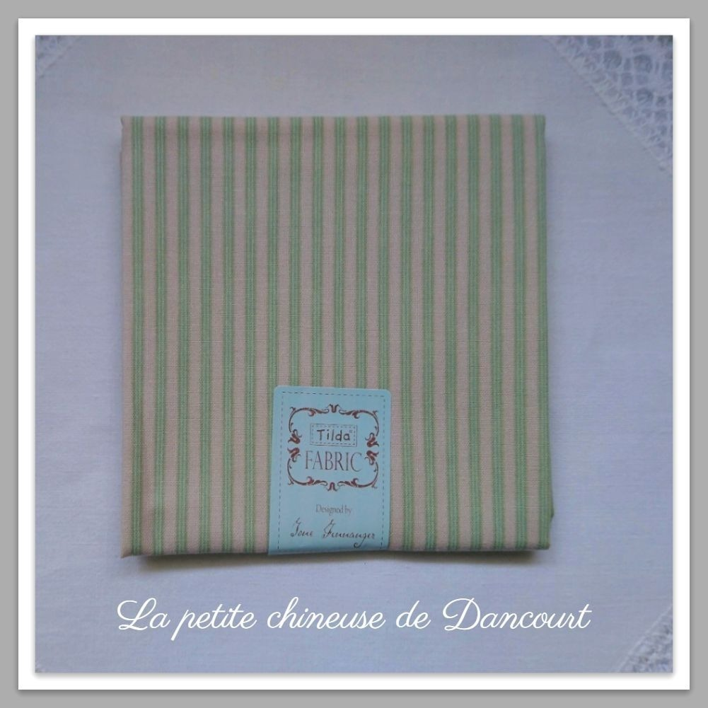 Coupon de tissus Tilda Rough stripe green
