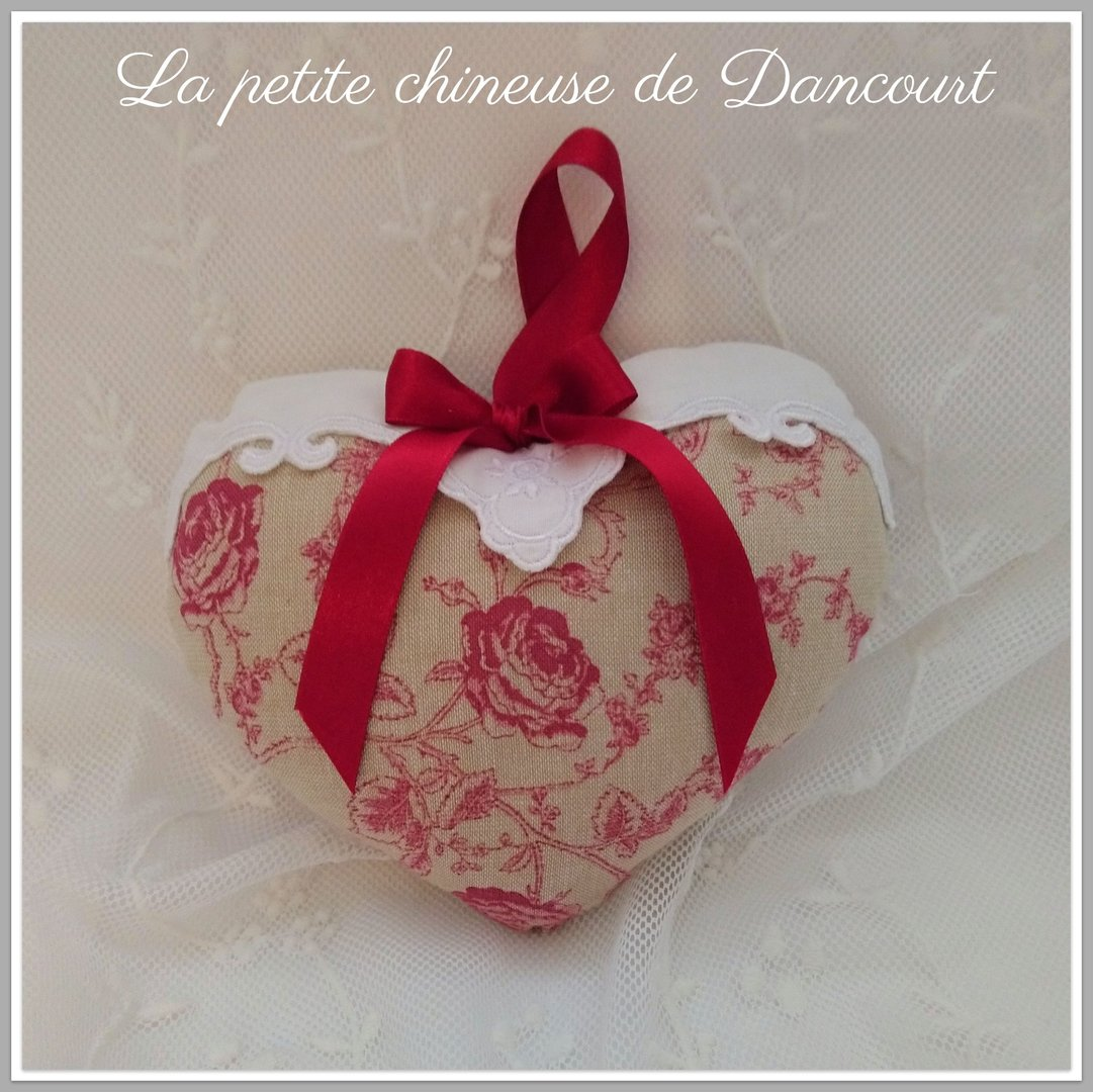 Coeur Toile de Jouy chambray rouge